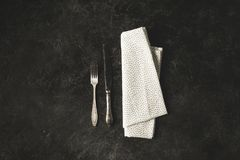 Antique tableware and linen Stock Photo