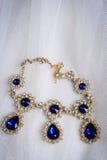 Top view antique sapphire diamond necklace Stock Photos