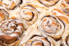 Top View Appetizing Cinnamon Buns Royalty Free Stock Photos