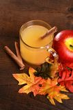 Top view apple cider with cinnamon stick stock image