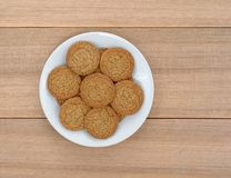 Apple pie crust cookies on a plate and picnic table Royalty Free Stock Photo