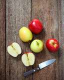 Top view of apple on wood Royalty Free Stock Images
