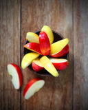 Top view apple in wood bowl Stock Photos