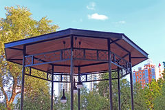 Top view of arbor with modern lamp in Natalka park in Kyiv. Ukraine royalty free stock photo
