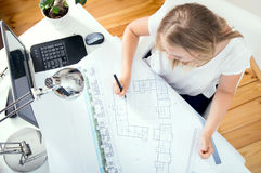 Top view at architect`s desk Royalty Free Stock Photo