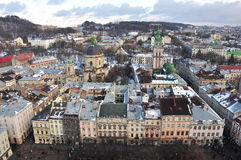 Top view of architecture of Lviv. Ukraine, Europe royalty free stock photography