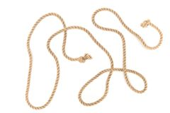 Top view of arranged brown marine rope with knots. Isolated on white royalty free stock images