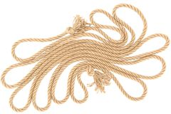 Top view of arranged brown nautical rope with knots. Isolated on white royalty free stock photography