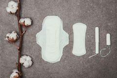 Top view of arrangement of cotton twig, menstrual pads and tampons. On grey surface royalty free stock images