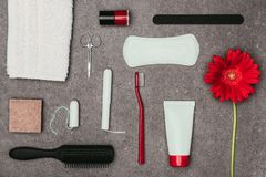 Top view of arrangement of various feminine hygiene supplies and flower. On grey surface Stock Photos