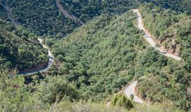 Top view of ascending mountain road with curves Stock Image