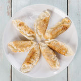 Top view Asian dish pan fried dumplings Stock Photography