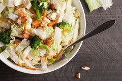 Top view of Asian Napa cabbage salad. Asian Napa cabbage salad with organic broccoli, almonds, chicken, and a rice vinaigrette top view closer Royalty Free Stock Photos