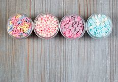 Assorted candy sprinkles Stock Images