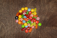 Top view assorted colorful candies Royalty Free Stock Photo