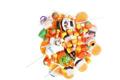Top view assorted halloween candy Stock Photo