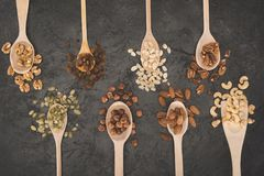 Assorted nuts in spoons Royalty Free Stock Image