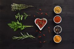 Spices and herbs isolated on a dark wooden table stock images