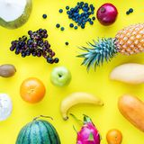 Top View Set Tropical Fruits Yellow Background Royalty Free Stock Photography
