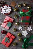 Wrapped Christmas Presents Bells and Stars Stock Image