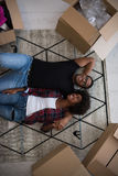 Top view of attractive young African American couple Stock Photo