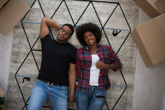 Top view of attractive young African American couple Stock Images