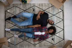 Top view of attractive young African American couple Royalty Free Stock Photography