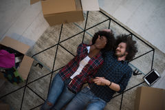 Top view of attractive young multiethnic couple Royalty Free Stock Photos