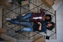 Top view of attractive young multiethnic couple Royalty Free Stock Photography