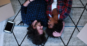 Top view of attractive young multiethnic couple Stock Photo