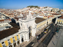 Top View of Augusta Arch in Lisbon, Portugal Royalty Free Stock Photography