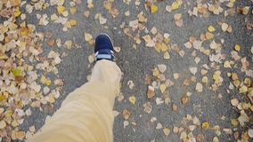 Top of view of autumn season in hipster style shoes in slowmotion. 1920x1080 stock footage
