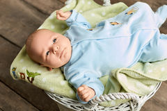 Top view of a baby. Infant lying on cloth. New generation new hope Royalty Free Stock Photo