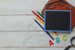 Top view Back to school or education background concept. Royalty Free Stock Photos
