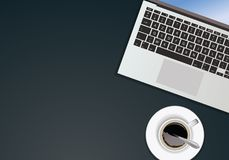 Composition of office objects seen from above stock illustration