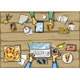 Top view background - lunch time with tablet Stock Photography