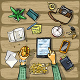 Top view background - lunch time with tablet Stock Photo