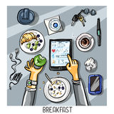 Top view background - person having breakfast Stock Photos