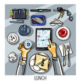 Top view background - person having lunch Stock Images