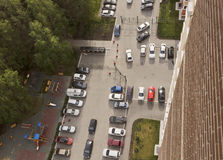 Top view of the backyard and a parked cars. Royalty Free Stock Photography