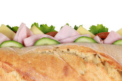Top view of a baguette with ham Royalty Free Stock Photo
