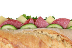 Top view of a baguette with salami Stock Photos