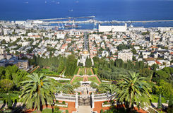 Top view of the Bahai Garden and Haifa, Royalty Free Stock Photo