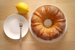 Top view of a baked round cake for tea time Stock Images