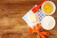 Top view of baking ingredients Royalty Free Stock Photo