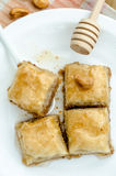 Top view of Baklava on a white plate Royalty Free Stock Photography