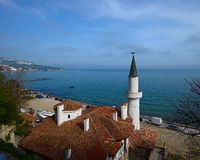 Top view of the Balchik Palace or Villa Quiet Nest on the backgr Stock Image