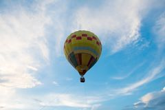 Top view balloon flying on blue sky stock photo
