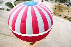 Top view on the balloon preparing for flight. Spring in Turkey Royalty Free Stock Images