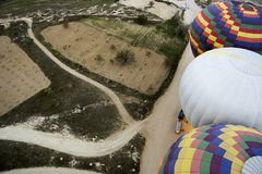 Top view on the balloons preparing for flight. Spring in Turkey Royalty Free Stock Images